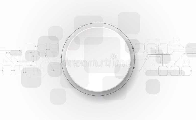 Vector futuristische illustratiesamenvatting, kringsraad op lichtgrijze achtergrond, Modern hi-tech digitaal technologieconcept royalty-vrije illustratie