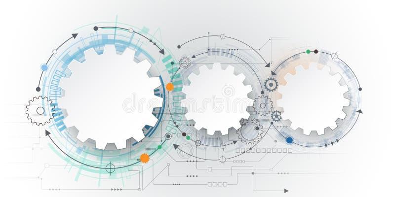 Vector futuristische Technologie, Gangrad des Weißbuches 3d auf Leiterplatte lizenzfreie abbildung