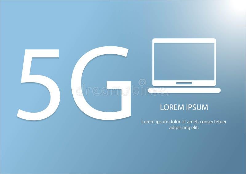 Vector5g en computer Nieuw 5de generatie mobiel netwerk logotype draadloos de systemensymbool van de hoge snelheidsverbinding stock illustratie