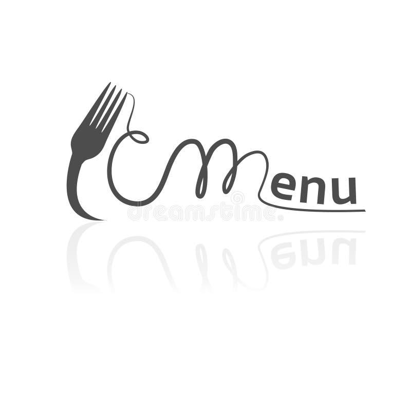 Vector Gabel mit den Spaghettis, die das Wortmenü bilden Schwarzes Symbol für Restaurantmenü vektor abbildung