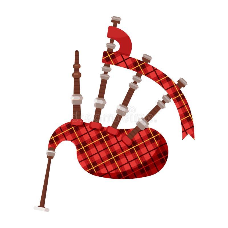 Vector gaitas de fole tradicionais escocesas do instrumento musical do estilo liso ilustração royalty free