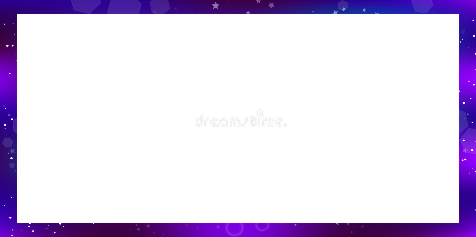 Vector galaxy rectangle border on white background with copy space. Vector fantastic galaxy rectangle border isolated on white background with copy space. Purple stock illustration