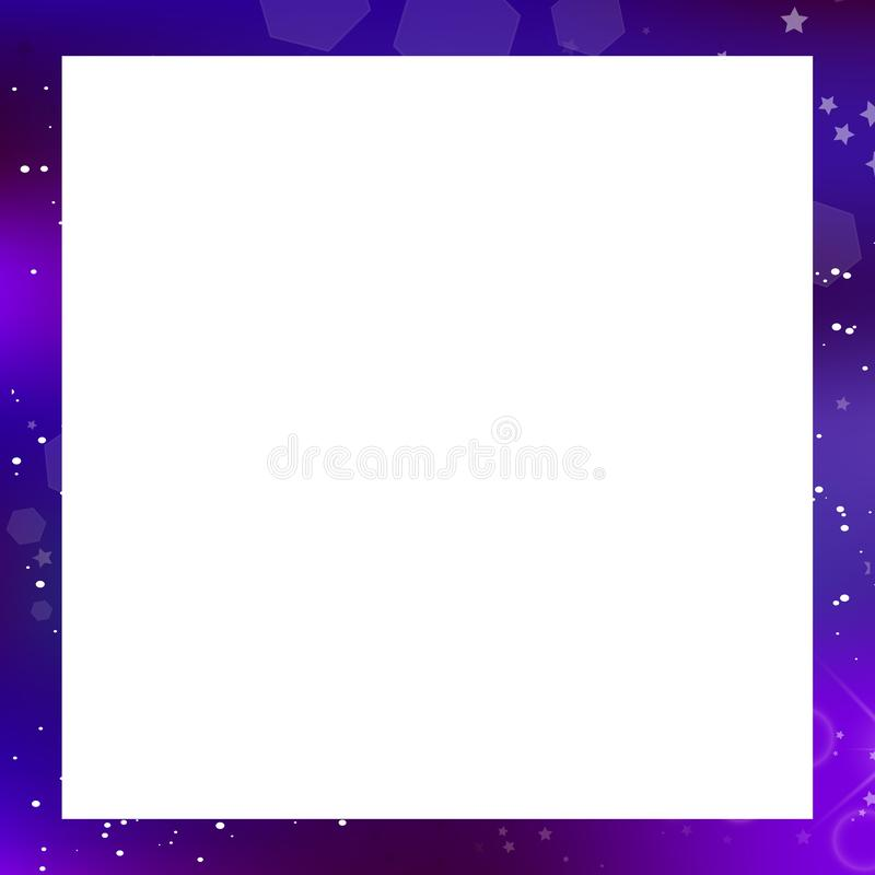 Vector galaxy square photo frame on white background with copy space. Vector fantastic galaxy square border isolated on white background with copy space. Purple stock illustration