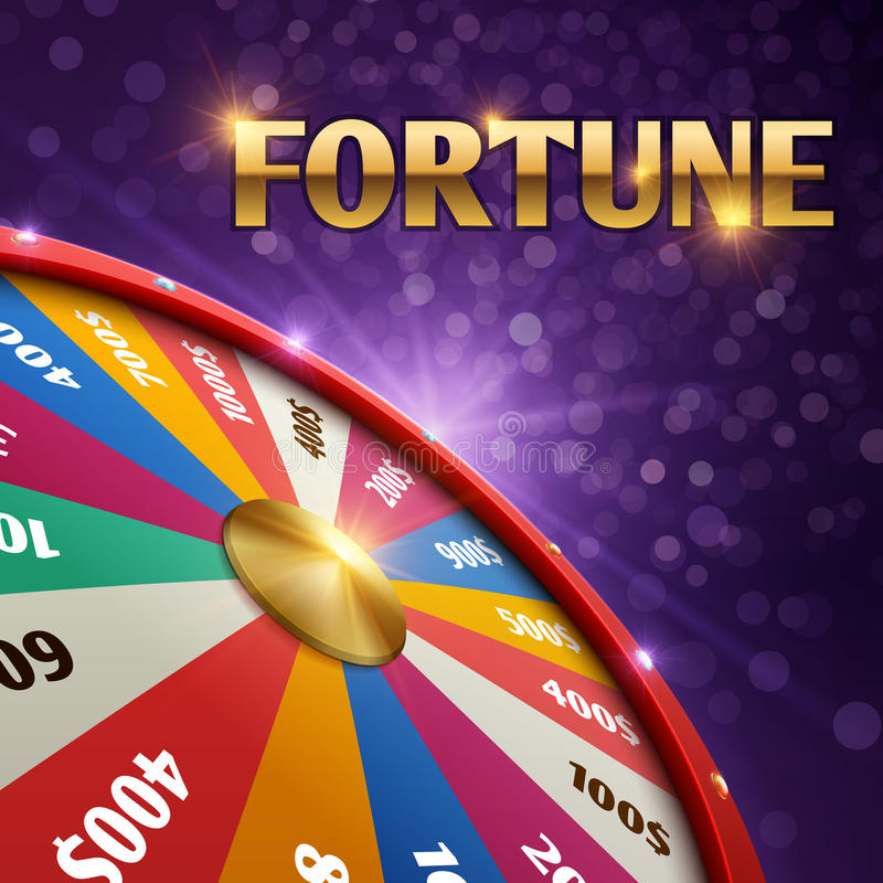 Vector gambling background with 3d fortune chance wheel vector illustration