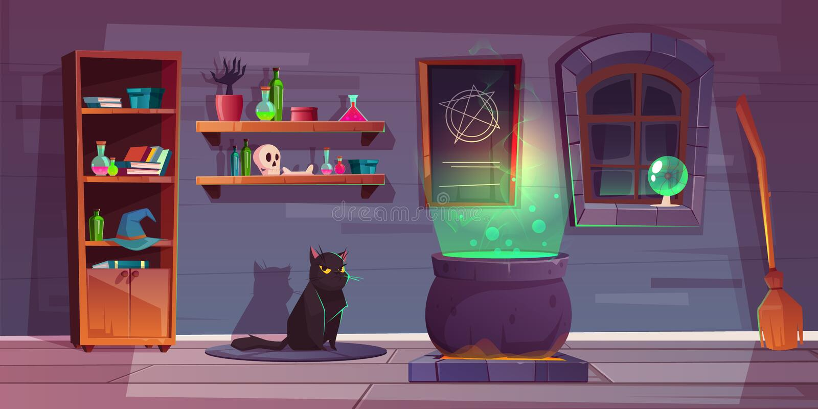 Vector game background of witch house, quest stock illustration