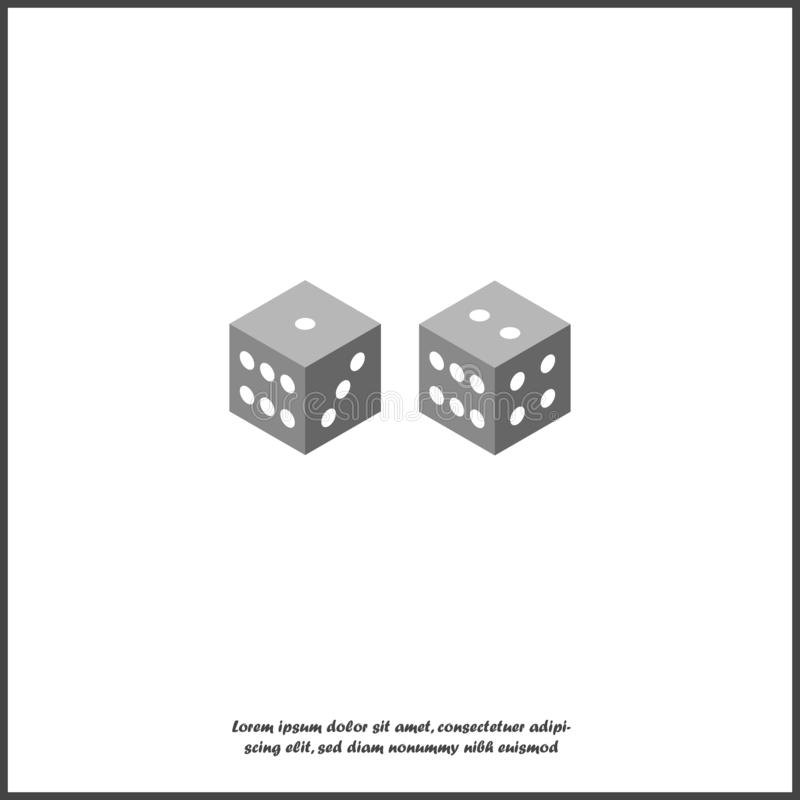 Vector game cubes icon on white isolated background. Layers grouped for easy editing illustration. For your design vector illustration