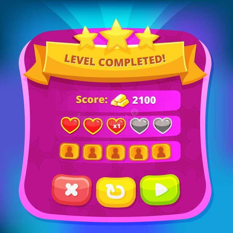 Vector game design interface - screen window for online. Flash, app game. Vector UI illustration royalty free illustration