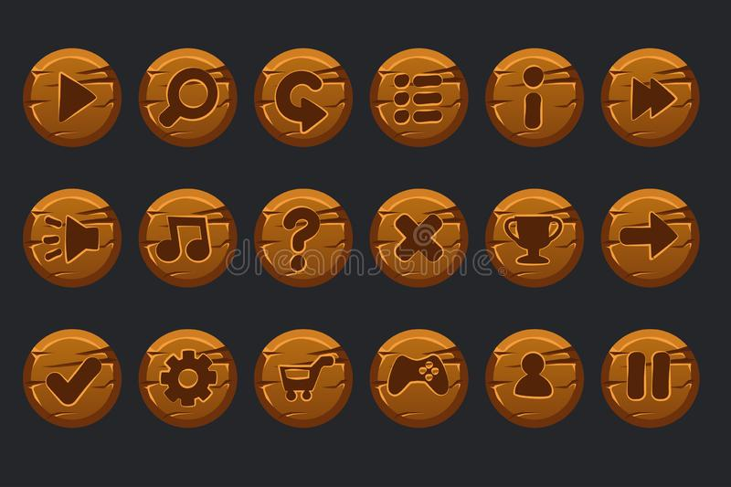 Vector game ui kit. Set of cartoon wooden circles buttons for graphical user interface GUI and 2D games. stock illustration