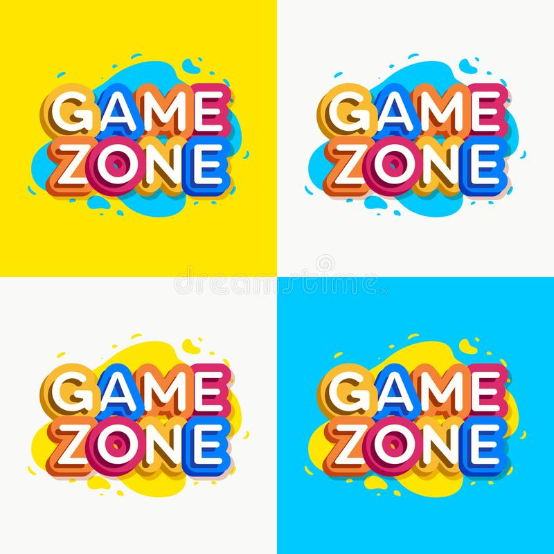 Vector game zone logo set colorful style. For kids shop, baby club, children school, shoes and clothes company, toys shop, toy market, cafe, education club, kid royalty free illustration
