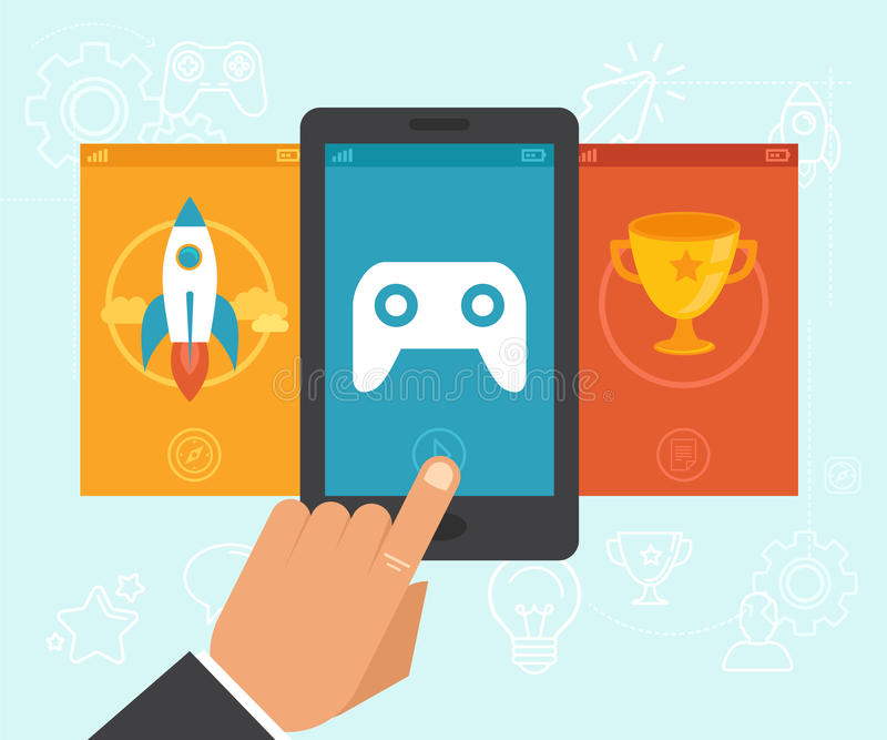 Vector gamification concept stock illustration