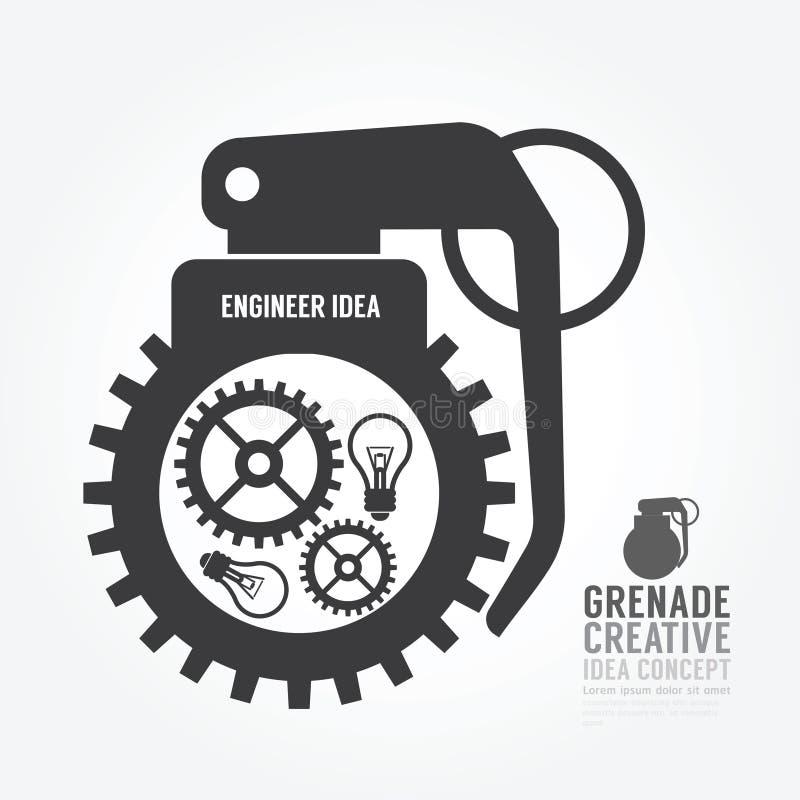 Vector Gangverzerrung von der Granatenkonzeptmaschine der Idee lizenzfreie abbildung