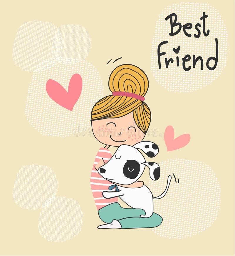Vector a garatuja bonito uma menina que abraça um cão de cachorrinho, ilustração royalty free