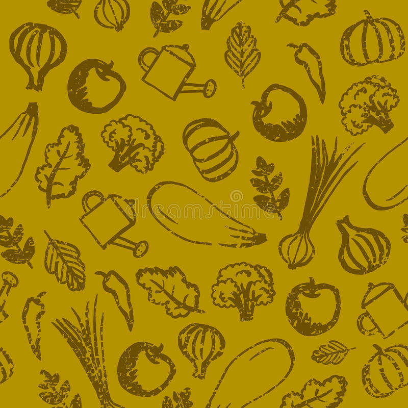 Vector garden, farm, vegetables and fruit seamless patter. Eco, organic healthy food background. Hand drawn royalty free illustration