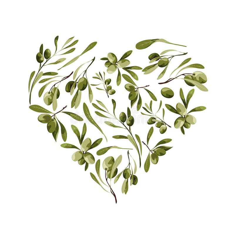 Vector garden heart shape background with olive tree for st valentines day with love symbol royalty free illustration