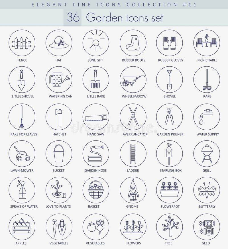 Vector garden outline icon set. Elegant thin line style design.  vector illustration