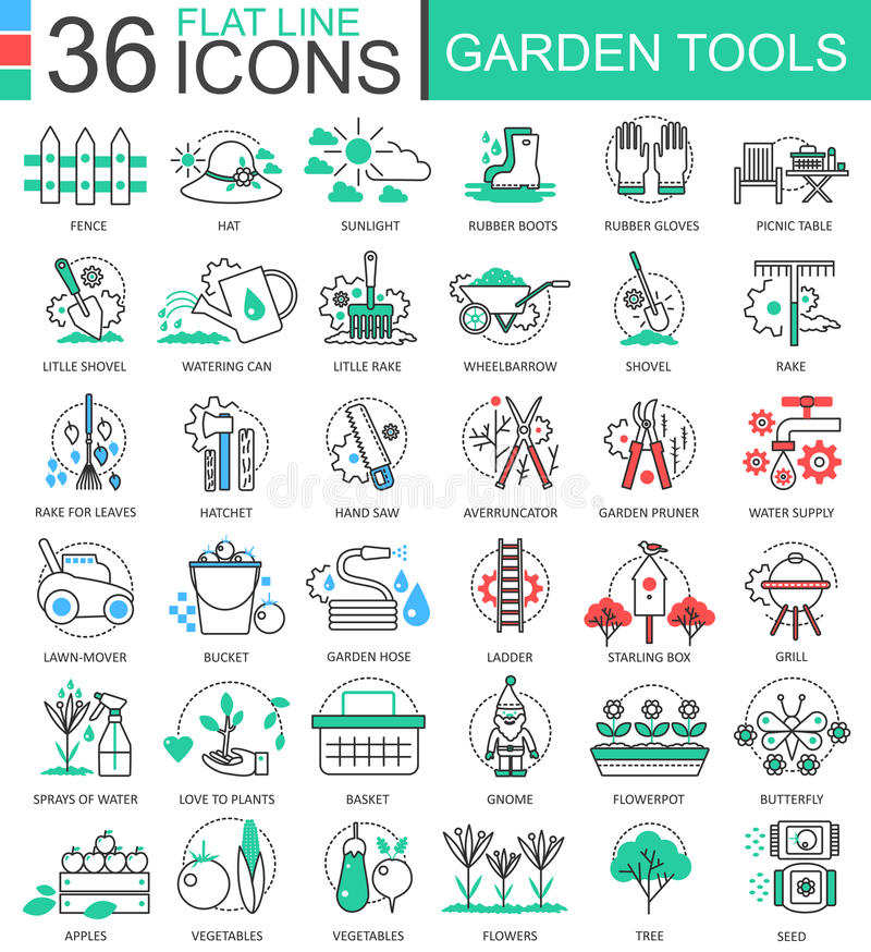Vector Garden tools modern color flat line outline icons for apps and web design. stock illustration