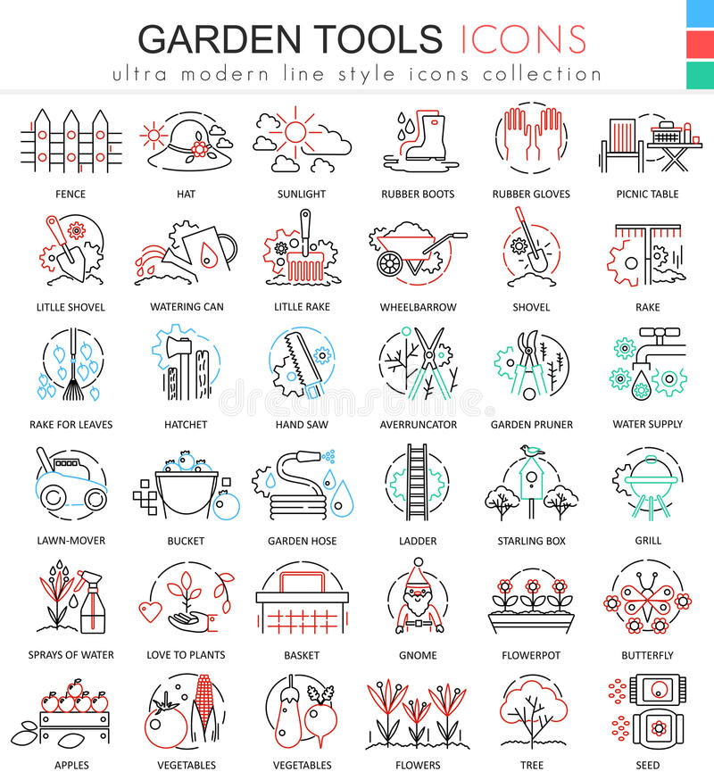 Vector Garden tools ultra modern color outline line icons for apps and web design. stock illustration