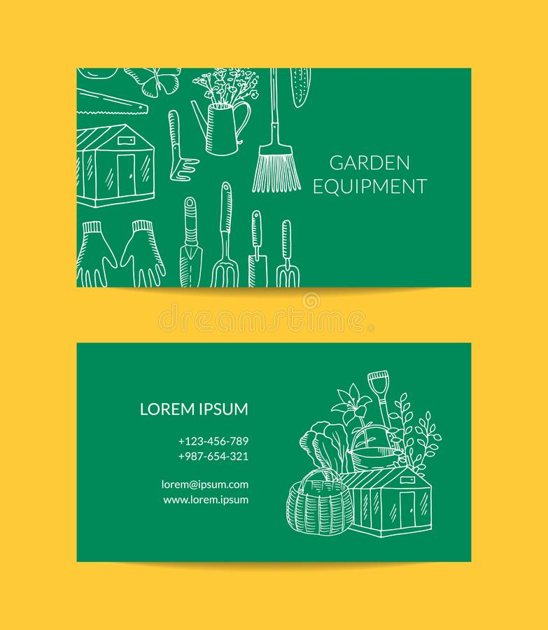 Vector gardening doodle icons business card. Template for farm and garden tools shop illustration vector illustration
