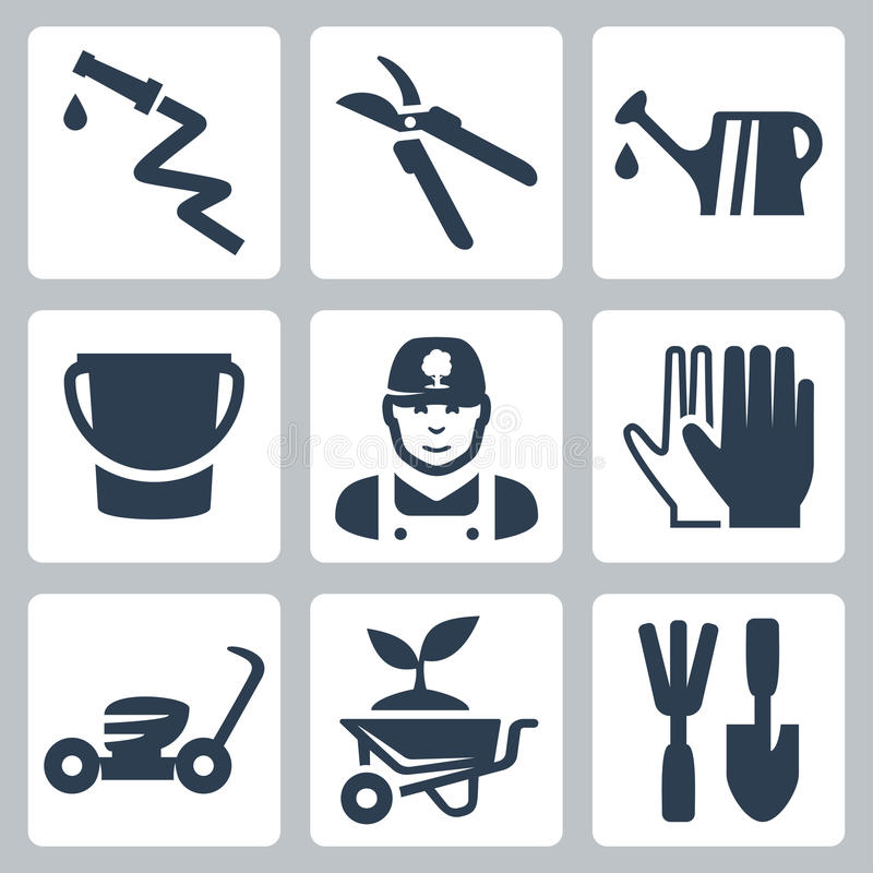 Free Vector Gardening Icons Set Royalty Free Stock Images - 34988669