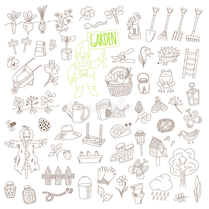 Vector gardening themed doodle set stock illustration