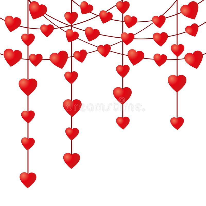 Vector garland with decorative hearts on a string. Valentine`s Day royalty free illustration