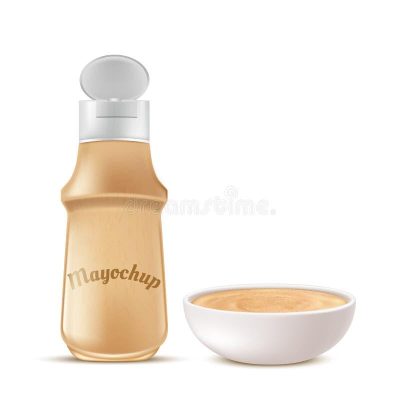Vector a garrafa e a bacia completamente de molho do mayochup ilustração do vetor