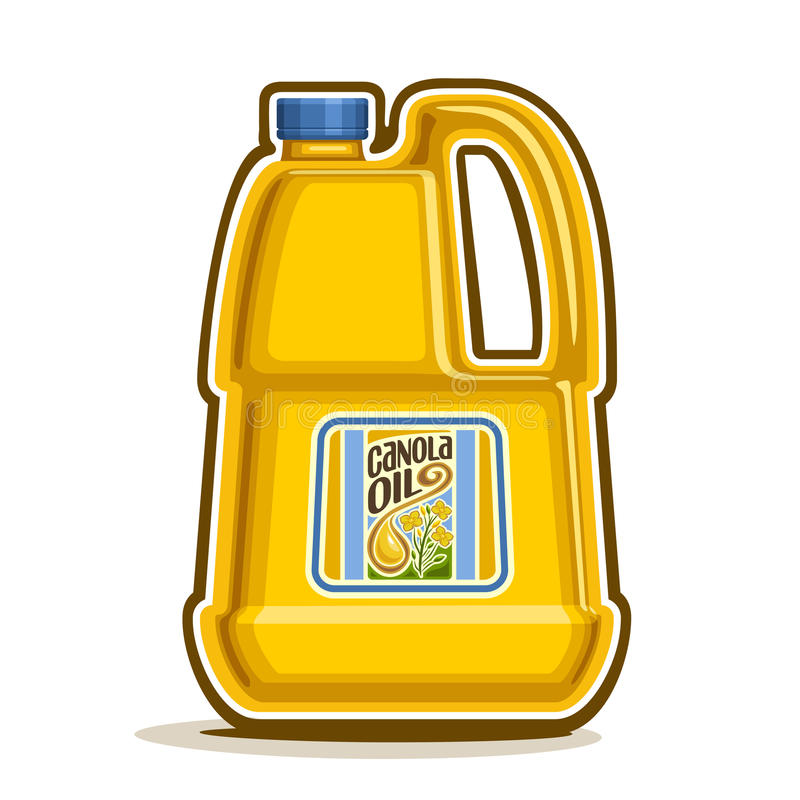 Vector a garrafa plástica amarela grande do logotipo com óleo do Canola ilustração stock