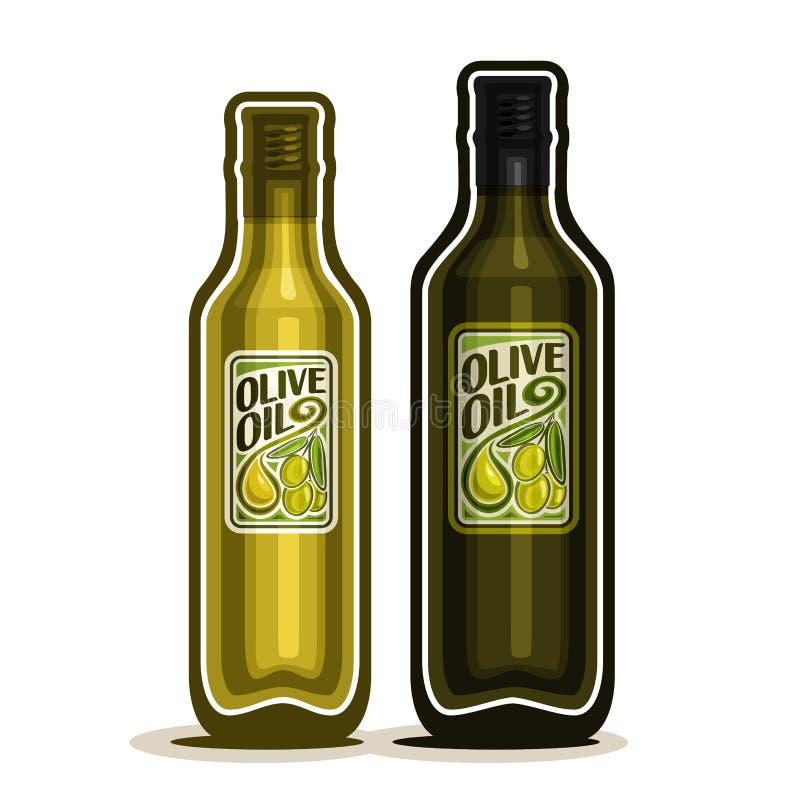 Vector garrafas de vidro verdes do logotipo 2 com Olive Oil pura ilustração do vetor