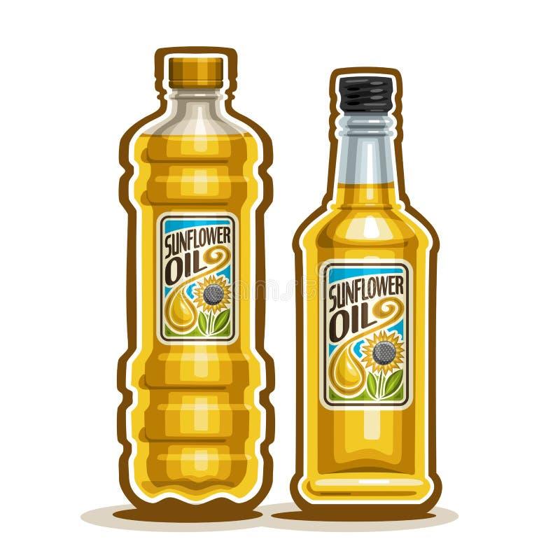 Vector garrafas do logotipo 2 com óleo de girassol puro ilustração stock