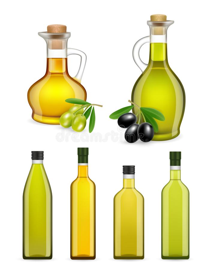Vector garrafas e os frascos de vidro de azeite realísticas ajustados ilustração stock