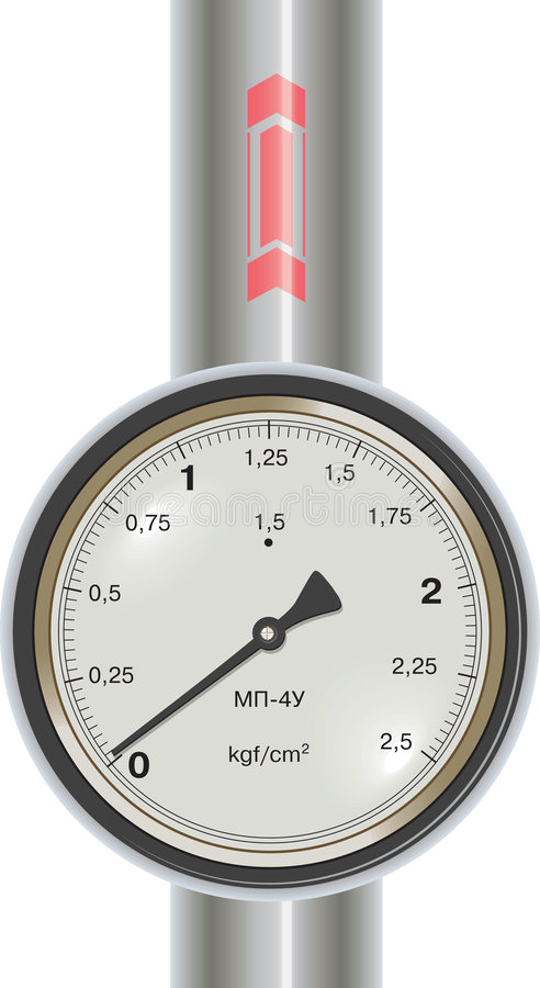 Vector gas manometer with pipe royalty free illustration