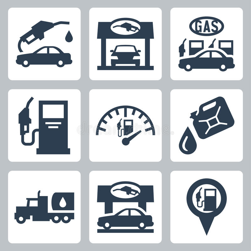 Vector gas station icons set royalty free illustration