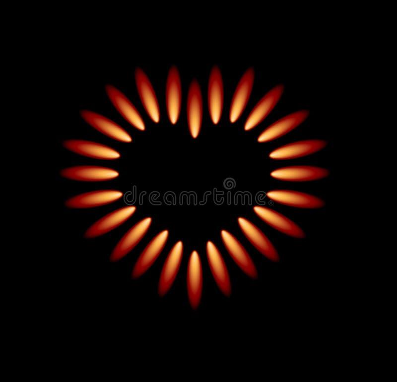Vector Gasofen mit roten Flammen vektor abbildung