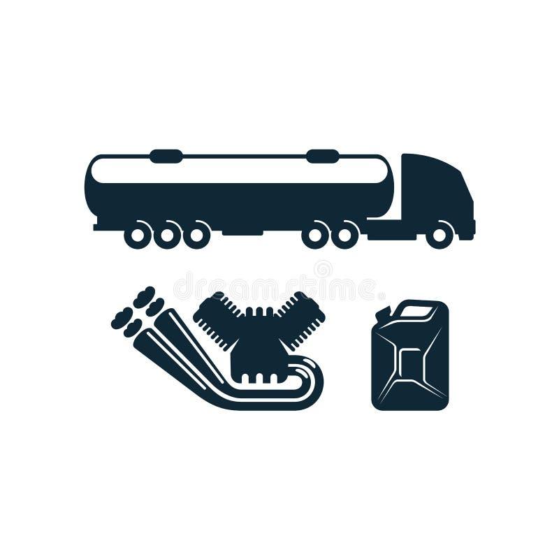 Vector gasoline tanker truck, engine fuel canister vector illustration