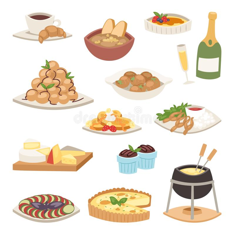 Vector gastrónomo del plato de la placa de la cocina de la comida de la comida de la cena del francés continental sano delicioso  libre illustration