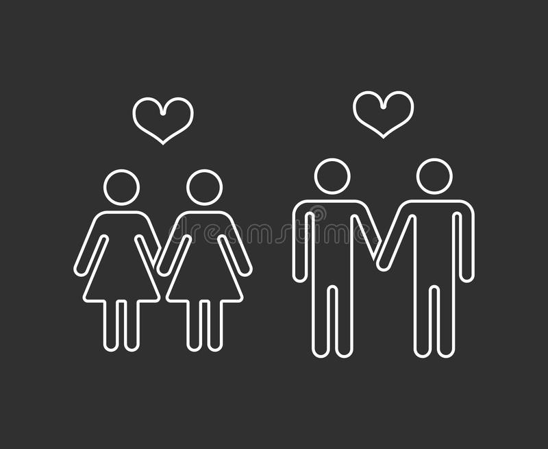 Vector gay pairs in love thin line icons. Homosexual love couple marriage illustration vector illustration