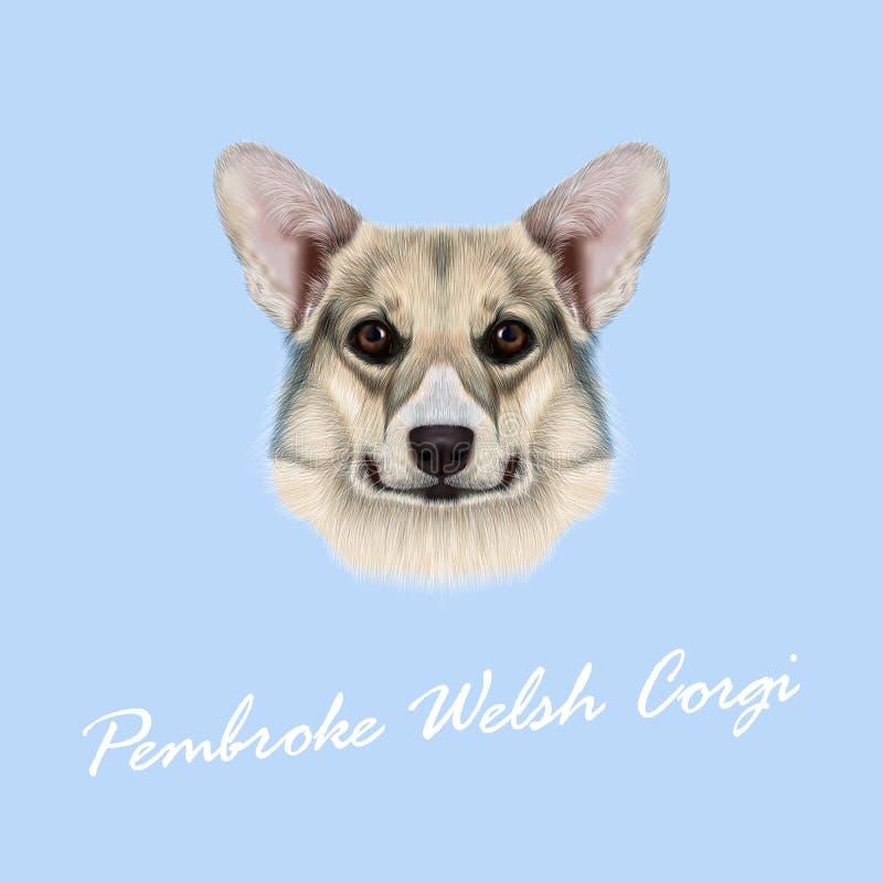 Vector geïllustreerd portret Pembroke Welsh Corgi Dog royalty-vrije stock foto
