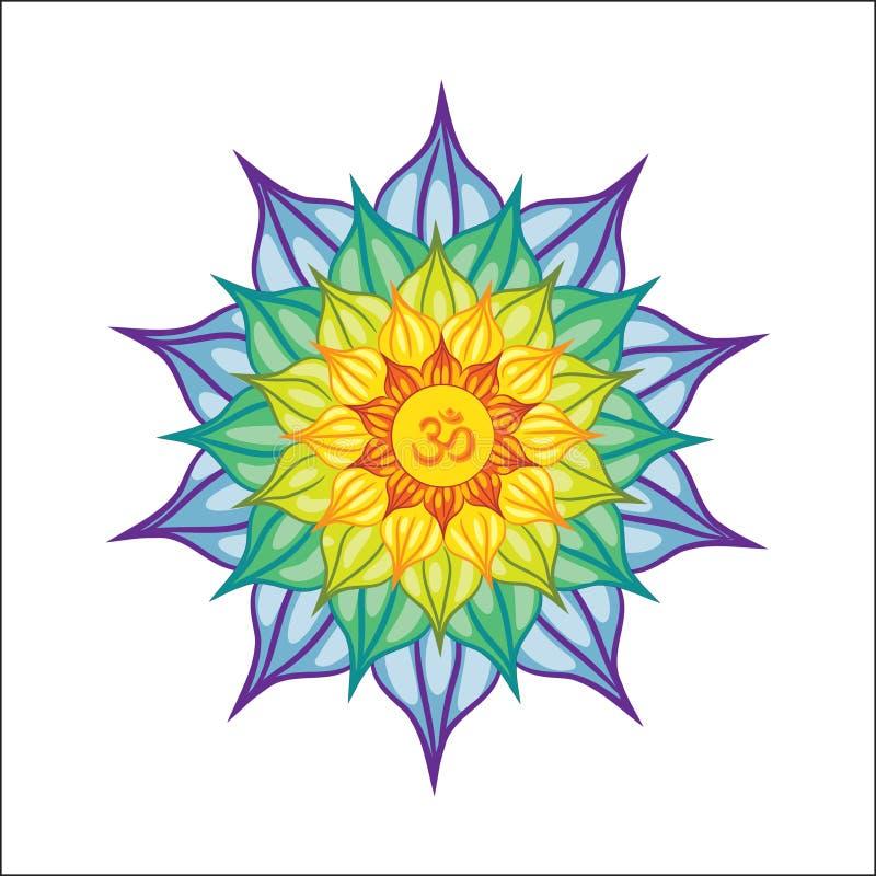 Vector geïllustreerde mandala met Om teken in het midden Geïsoleerdj op witte achtergrond kleurrijk en helder stock illustratie