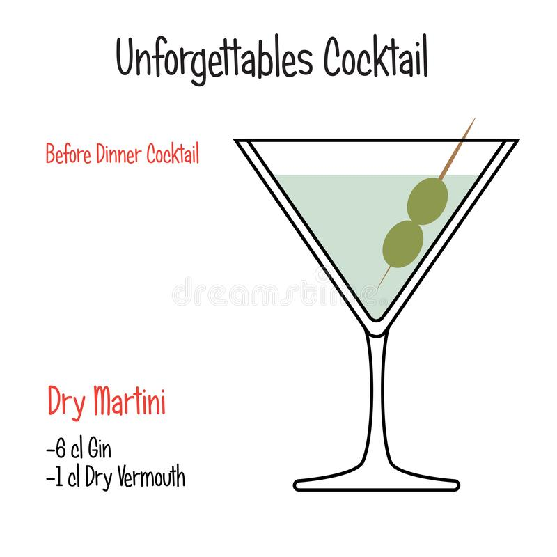 Vector geïsoleerd de illustratierecept van de derby alcoholisch cocktail royalty-vrije illustratie