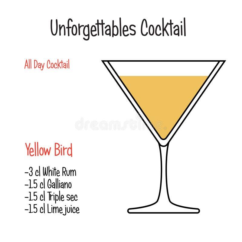 Vector geïsoleerd de illustratierecept van de kamikaze alcoholisch cocktail royalty-vrije illustratie