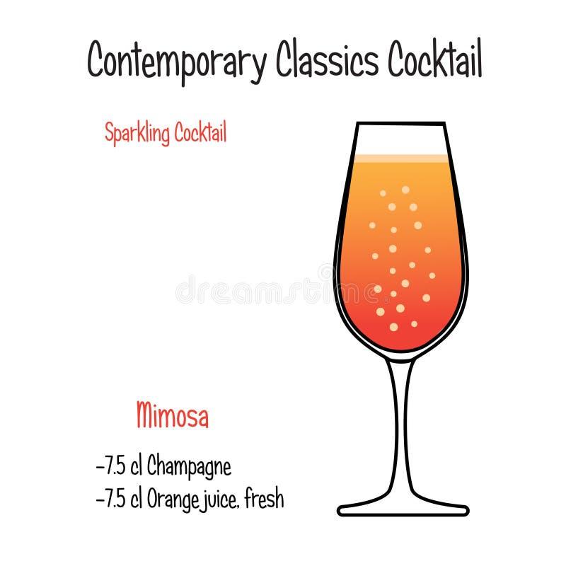 Vector geïsoleerd de illustratierecept van de Mimisa alcoholisch cocktail vector illustratie