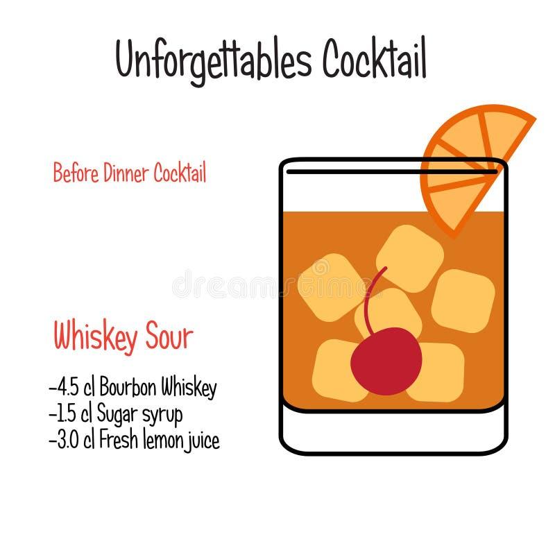 Vector geïsoleerd de illustratierecept van de whisky Zuur alcoholisch cocktail stock illustratie