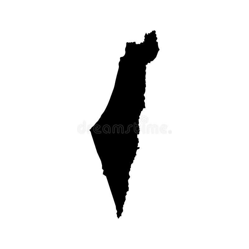 Vector geïsoleerd illustratiepictogram met vereenvoudigde kaart van Staat van Israël Zwart silhouet vector illustratie