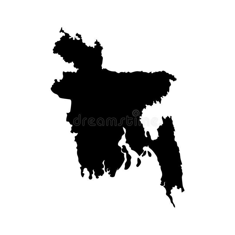 Vector geïsoleerd illustratiepictogram met vereenvoudigde kaart van Volksrepubliek van Bangladesh stock illustratie