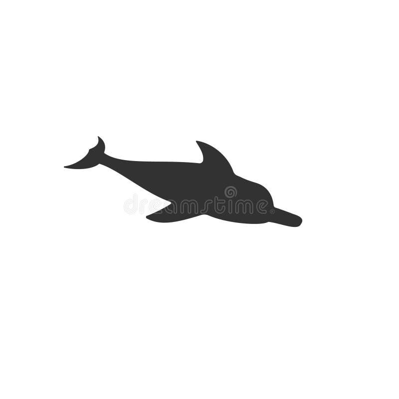 Vector geïsoleerde dolfijnzwarte stock illustratie