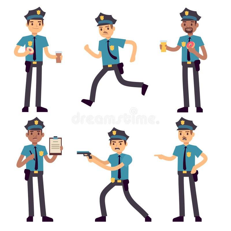Vector geïsoleerde het beeldverhaalkarakters van de ambtenarenpolitieagent Patrouillecops voor politieconcept vector illustratie