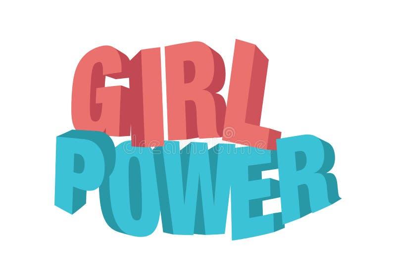 Vector geïsoleerde illustratie van een het meisjesmacht van de typografie 3D fase vector illustratie