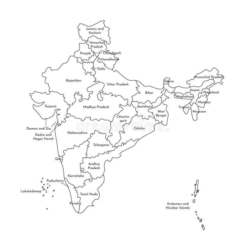 Vector geïsoleerde illustratie van vereenvoudigde administratieve kaart van India Grenzen en namen van de staten Zwarte lijnsilho stock illustratie