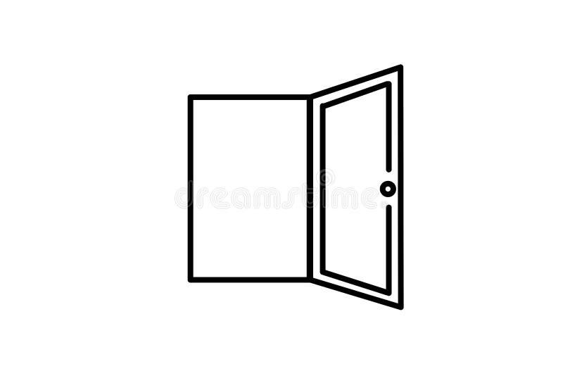 Vector Geïsoleerde pictogramillustratie Geopende Deur Element van het binnenland symbool van vrijheid stock illustratie