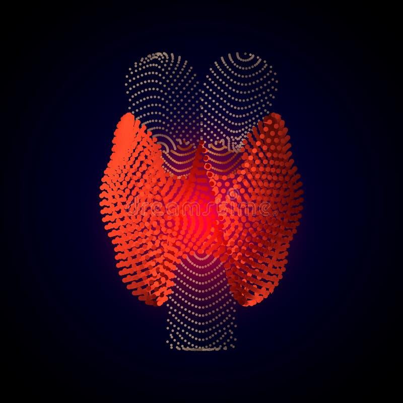 Vector geïsoleerde Schildklier met pijncentrum 3D menselijk orgaan Geneeskundeconcept met lijn vectorillustratie van Schildklier vector illustratie